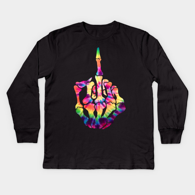 Skeleton Middle Finger Flipping the Bird Tie Dye Tee