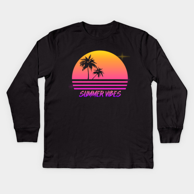 eec92e8a2424 Summer Vibes - Retro Synth Sunset Style - Summer - Kids Long Sleeve ...