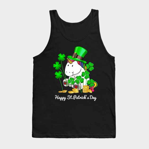 Unicorn Happy St. Patrick's Day Shirt Tank Top