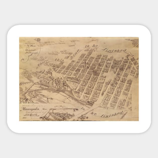 Vintage Map of Minneapolis MN (1891) 2