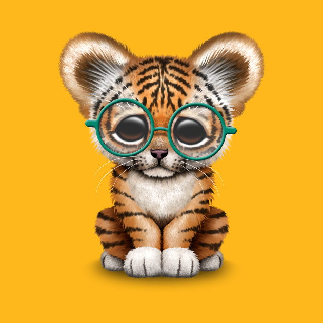 Cute Baby Tiger Cub Wearing Glasses Cute Baby Tiger Cub Wearing Glasses