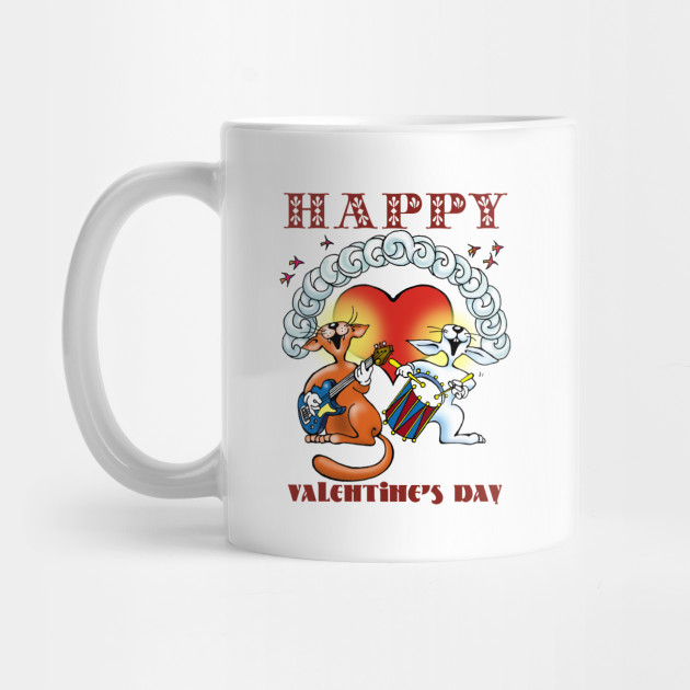 Happy Heart Valentine's Day Cat Band Mug