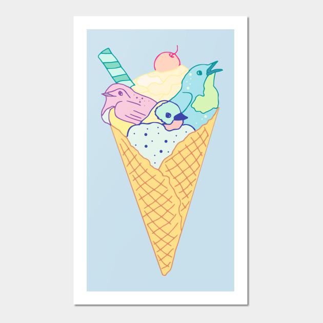 ice cream birds - Birds - Wall Art   TeePublic