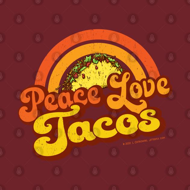 PEACE LOVE TACOS - Distressed Retro Rainbow
