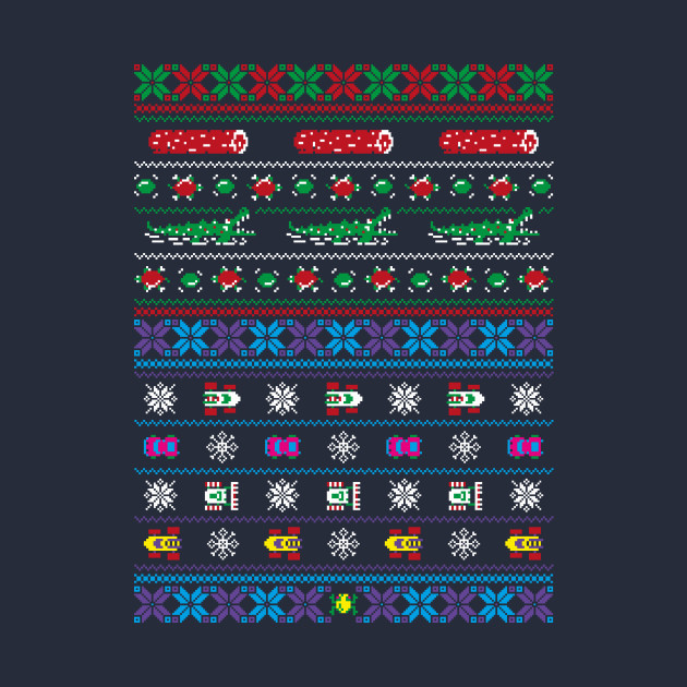 Frogs, Logs & Automobiles - Frogger Arcade Christmas Ugly Sweater