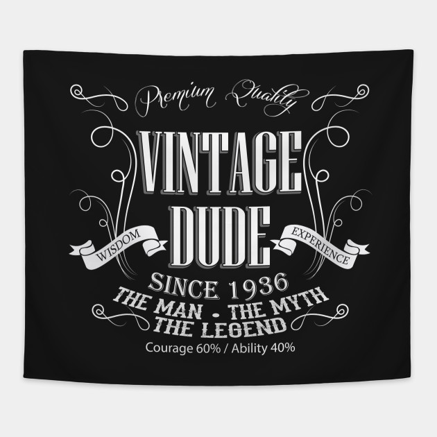 Vintage Dude 80 Since 1936 80th Birthday Gift For Men Tapestry