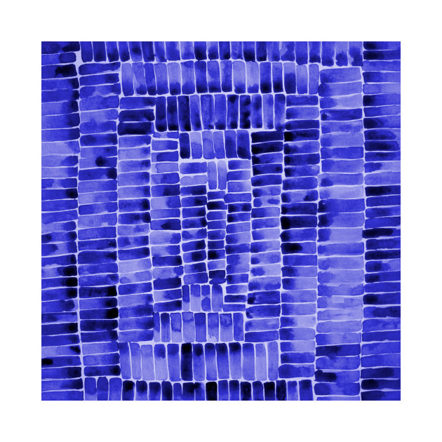 Watercolor abstract rectangles - blue