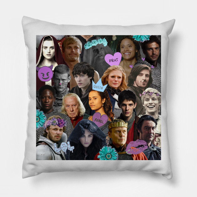 merlin collage tumblr pillow teepublic