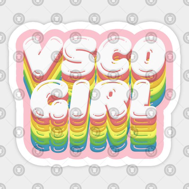 Vsco Girl Retro Rainbow Typography Design