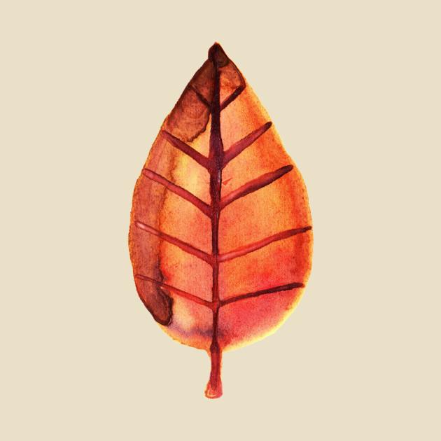 Red Brown Leaf Watercolor