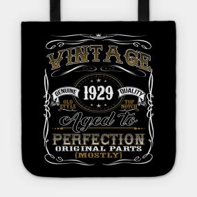 Vintage 1929 Shirt 90th Birthday Gift Ninetieth Bday T Tote