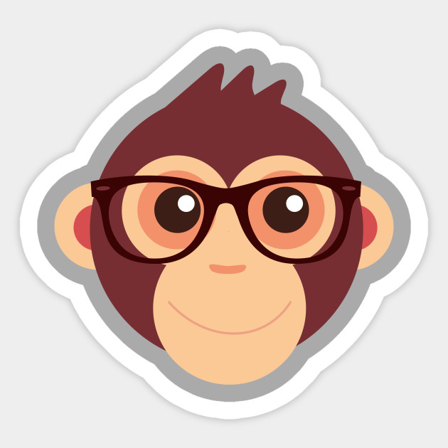 06dad2110076c0 Hipster Chimp T-Shirt - Adorable Monkey - Sticker | TeePublic