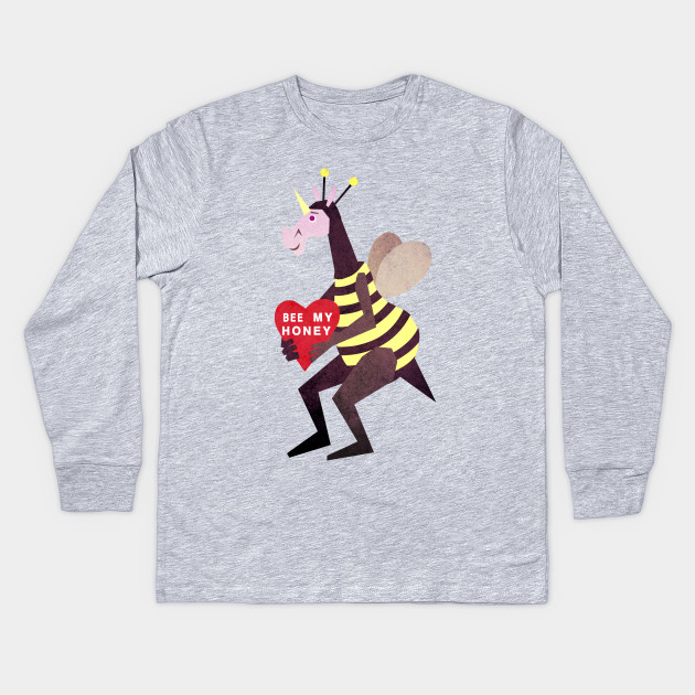 Bee My Honey Unicorn Valentines Day Kids Long Sleeve T Shirt