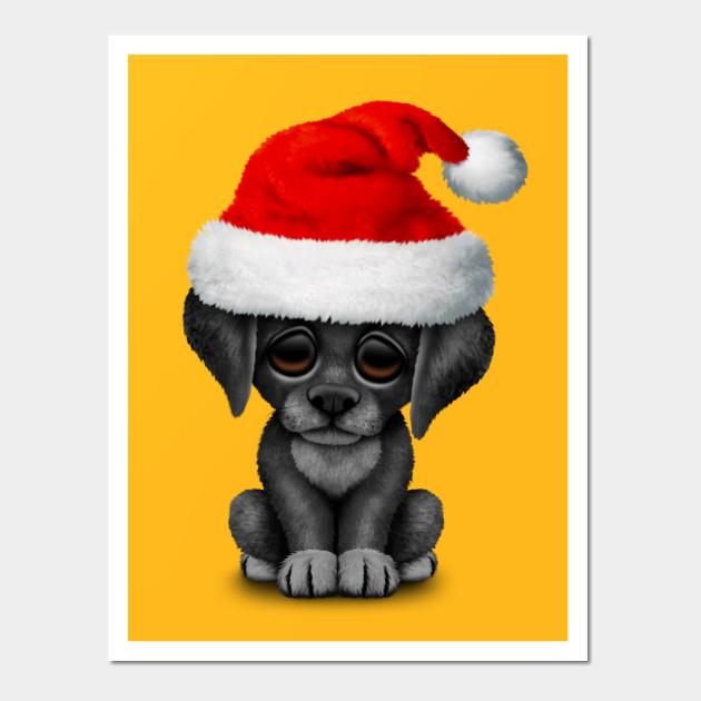 Black Lab Puppy Wearing a Santa Hat