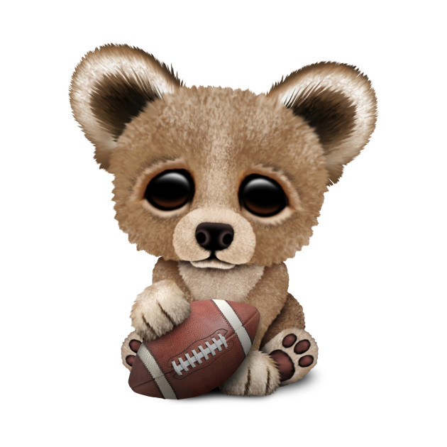 Cute Baby Bear Playing With Football