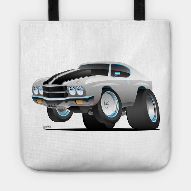 Classic 70 S American Muscle Car Cartoon Muscle Car Tote Teepublic