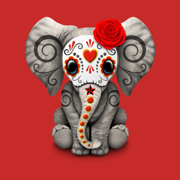 Red Day of the Dead Sugar Skull Baby Elephant - Day Of The ...