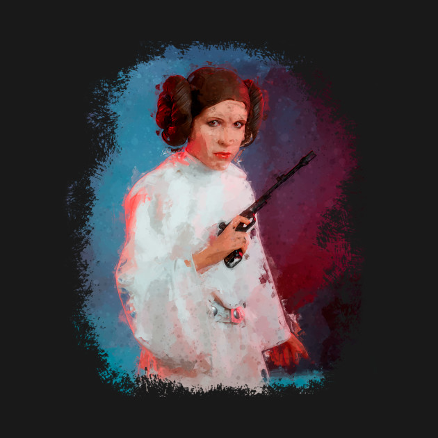 Princess Leia with Gun Watercolour Art
