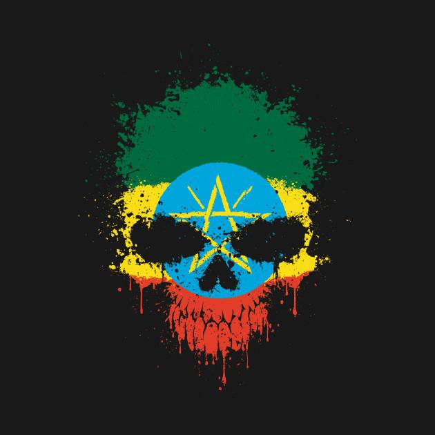 Chaotic Ethiopian Flag Splatter Skull