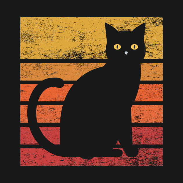 Vintage Eighties Style Cat T Shirt Retro Distressed Design