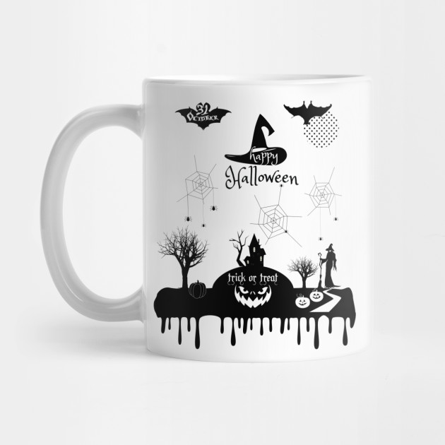 Halloween. Treat or Trick Halloween Pumpkin Magic Witch Woman Spider Mug