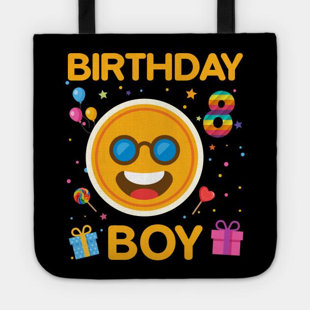 Kids Emoji 8th Birthday Boy T Shirt Fun 8 Years Old Gift Tote