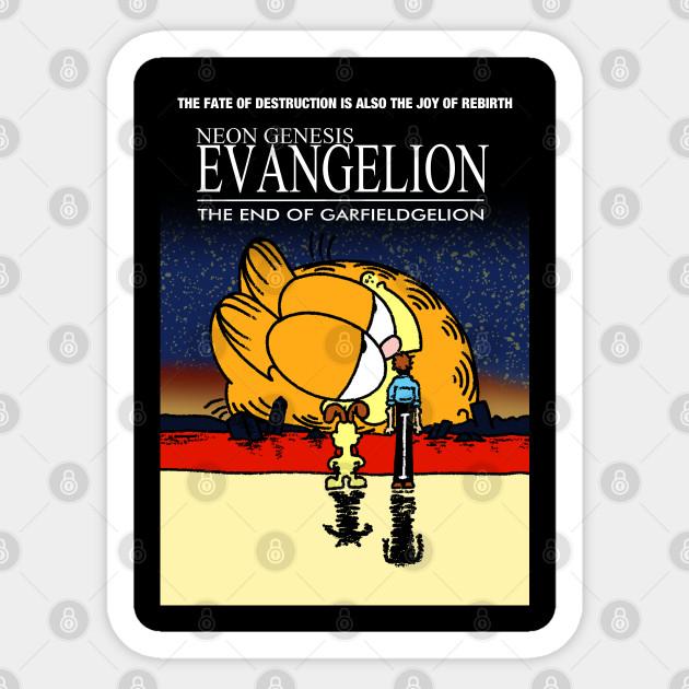 Neon Genesis Evangelion Garfield Meme Neon Genesis Evangelion Garfield Sticker Teepublic
