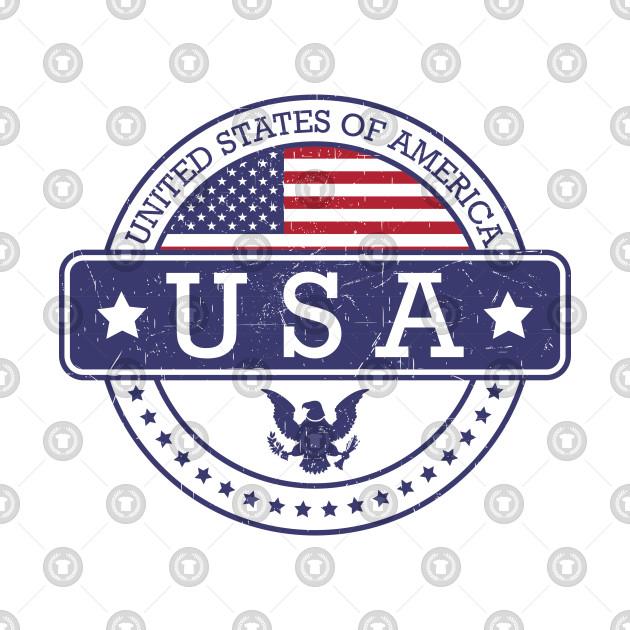 Round Grunge Stamp American Flag