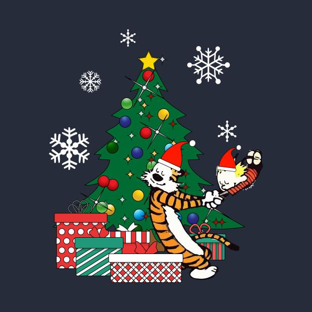 ... Calvin And Hobbes Around The Christmas Tree - Calvin And Hobbes Around The Christmas Tree - Calvin And Hobbes - T
