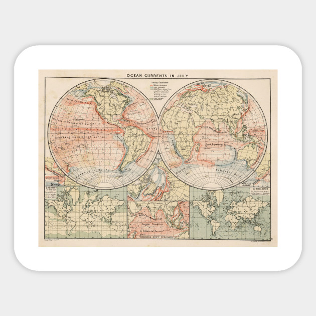 World Map With Currents.Vintage World Ocean Currents Map 1905 World Map Sticker