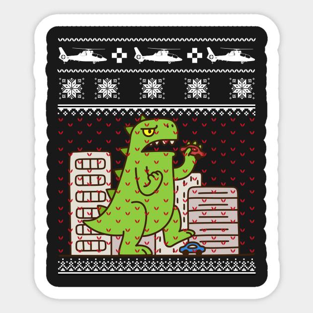Godzilla Ugly Christmas Sweater Godzilla Sticker Teepublic