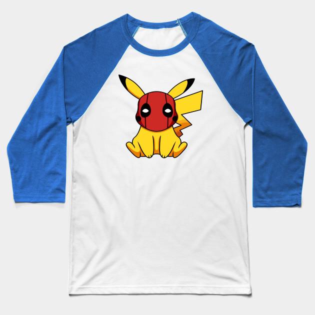 d0ac4603 Pikapool Pikachu Deadpool Mashup Pokemon Detective Pikachu Baseball T-Shirt