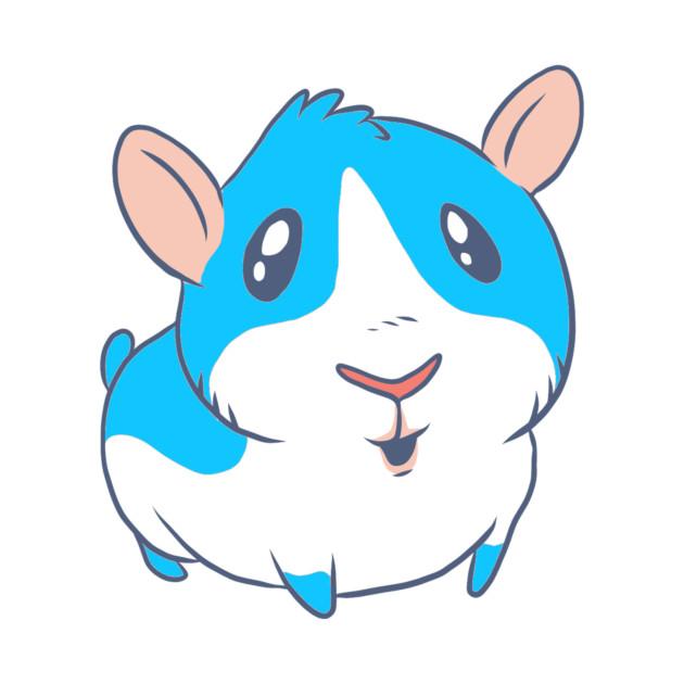 Cute Kawaii Blue Cartoon Guinea Pig Animal Lovers Design