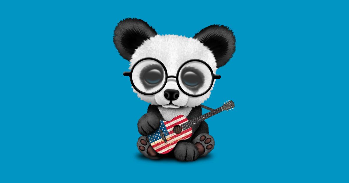 Baby Panda Playing American Flag Guitar Baby Panda