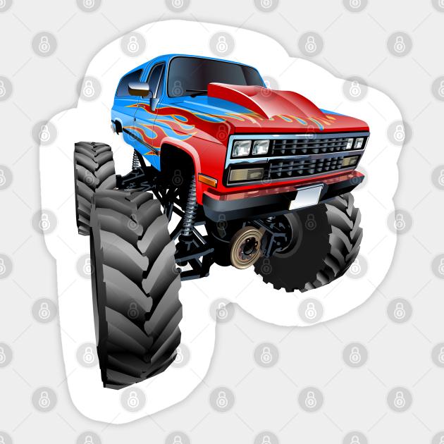 Cartoon Monster Truck Cartoon Car Sticker Teepublic