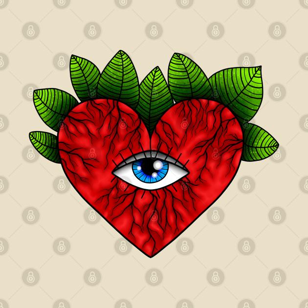 Eye Heart Tattoo Style