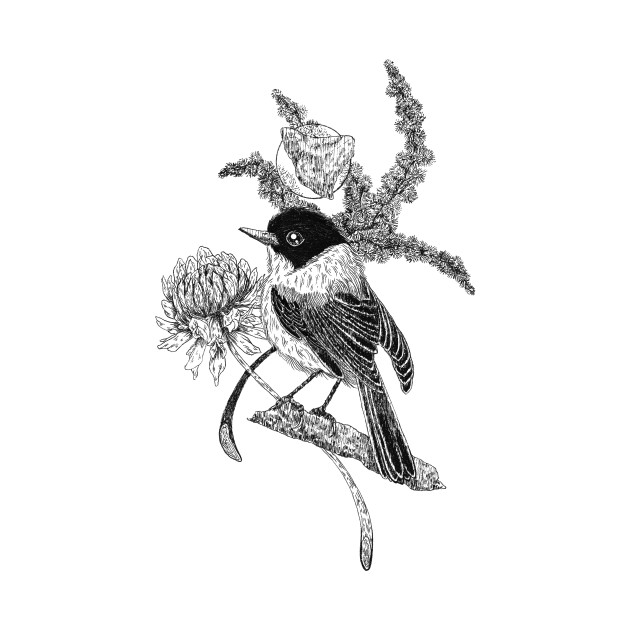 Flycatcher Bird & Flowers