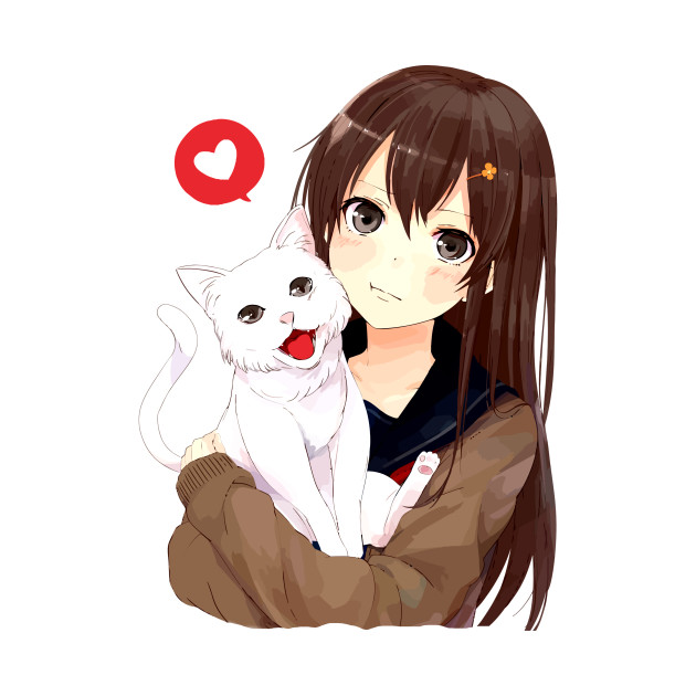 Cute Neko Pillow : Anime Girl Cute Cat Neko - Cat - Throw Pillow TeePublic
