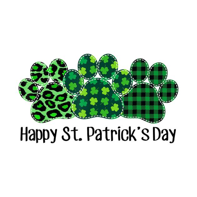 Dog Paw Leopard Green Plaid Happy Patrick Day