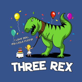 Three Rex Dinosaur 3rd Kids Birthday Girl Party T Shirt