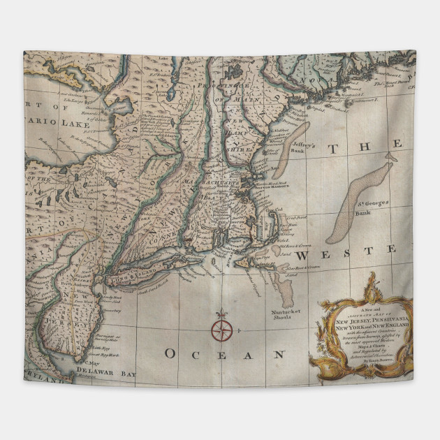 Map Of Nw England.Vintage Map Of The New England Coast 1747 New England Map