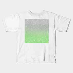 cc281ac7157a Trendy Ombre Mint Green Silver Glitter Kids T-Shirt