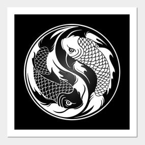 White And Black Yin Yang Koi Fish Yin Yang T Shirt