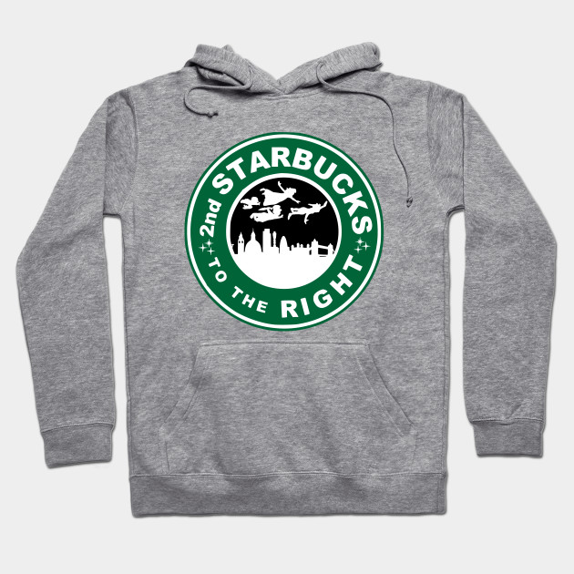949870611 The 2nd Starbucks To The Right - Peter Pan - Hoodie   TeePublic