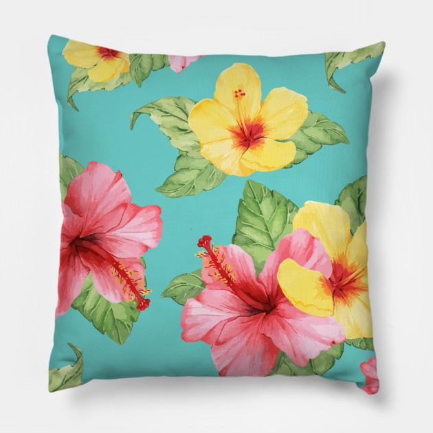 Colorful Summer Hibiscus Flowers Hibiscus Flowers Pillow Teepublic