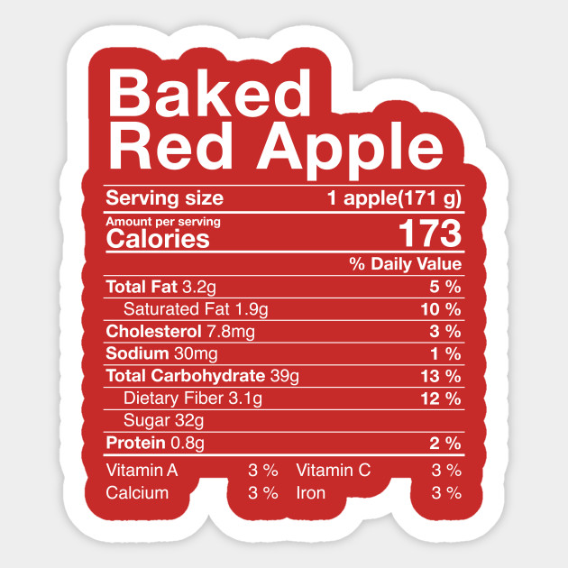 Red Baked Apples Nutritional Facts Thanksgiving Turkey Day Nutritional Facts Sticker Teepublic