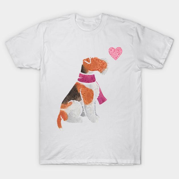 Watercolour Wire Fox Terrier - Wire Fox Terrier - T-Shirt | TeePublic