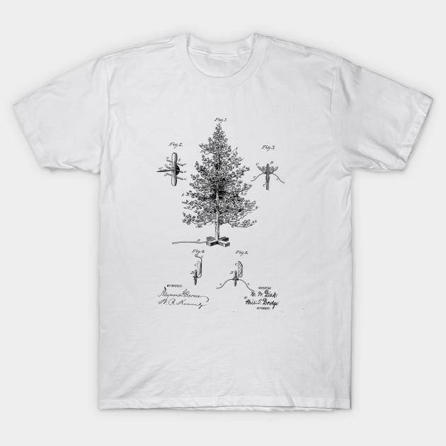 Christmas Tree Design Vintage Patent Drawing Christmas T Shirt