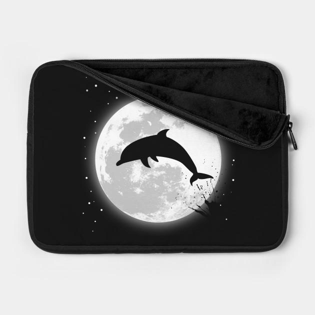 Zip Up Hoodie Dolphin Silhouette Full Moon Jumping Ocean