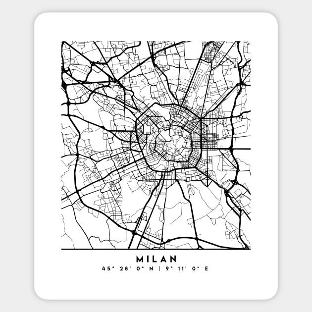 MILAN ITALY BLACK CITY STREET MAP ART